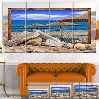 Framed Beach Umbrellas - Seashore  Art Canvas Print