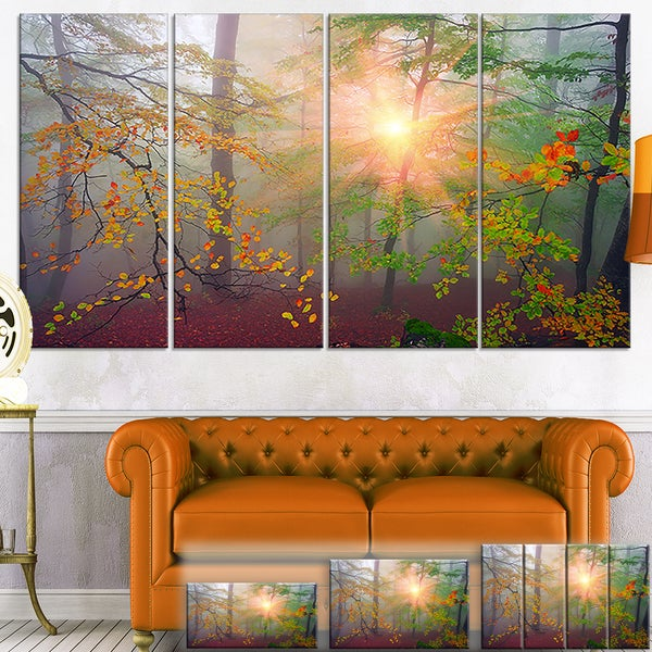 Morning in Misty Green Forest - Landscape Photo Canvas Art Print