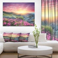 Morning with Flowers in Mountains - Landscape Photo Canvas Print - Purple