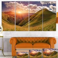 Sunrise Over Green Mountains - Landscape Photo Canvas Art Print