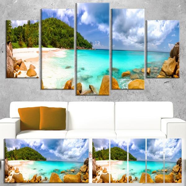 Seychelles Beach Panorama - Seascape Photo Canvas Art Print