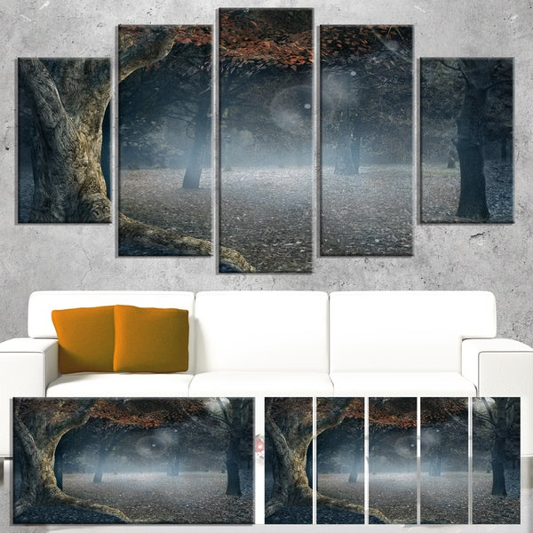 Big Trees in Dark Foggy Forest - Landscape Photography Wall Art