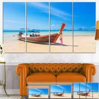 Tropical Beach with Boat - Seashore Photo Canvas Art Print
