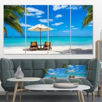 Turquoise Beach with Chairs - Seashore Photo Canvas Print
