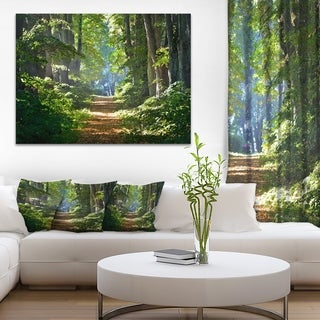 Bright Green Forest in Morning - Landscape Photo Canvas Print