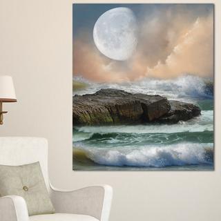Roaring Ocean Under Large Moon - Seascape Photo Canvas Art Print