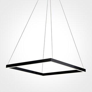 Vonn Lighting Atria Collection Black Aluminum/Acrylic/Metal 20-inch LED Adjustable Suspension Fixture Modern Square Chandelier