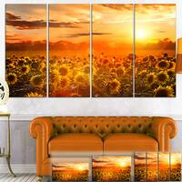 Yellow Sunset over Sunflowers - Floral Photography Canvas Print