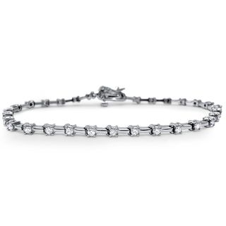 Noori 14k White Gold 1 1/3ct TDW Round Diamond Tennis Bracelet