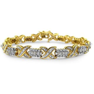 Noori 10k Yellow Gold 3 1/2ct TDW Round Baguette Diamond Tennis Bracelet