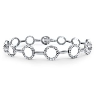Noori 14k White Gold 1 3/5ct TDW Round Eternity Circle Diamond Tennis Bracelet