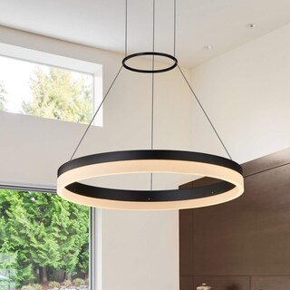 VONN Lighting VMC31630BL Tania 18-inch Modern Circular LED Chandelier in Black