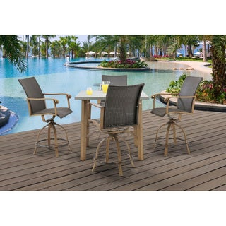 Hanover Hermosa Grey Aluminum 5-Piece Outdoor Weather-Resistant High-Dining Set with Table and 4 Chairs