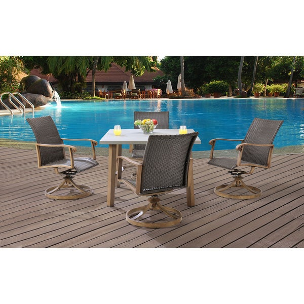 Hanover HERDN5PC-SQR Hermosa Grey Aluminum 5-piece Outdoor Dining Set