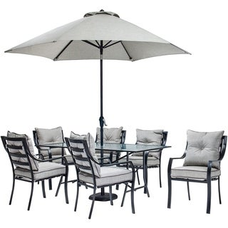 Hanover Outdoor LAVDN7PC-SU Lavallette Grey Aluminum 7-piece Outdoor Dining Set with Table Umbrella and Base