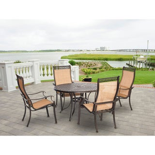 Hanover MANDN5PC Manor Tan Aluminum 5-piece Outdoor Dining Set