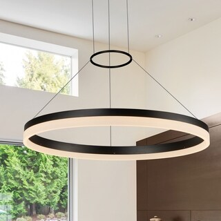 VONN Lighting Tania Collection Black Aluminum and Acrylic 24-inch LED Adjustable Suspension Modern Circular Chandelier