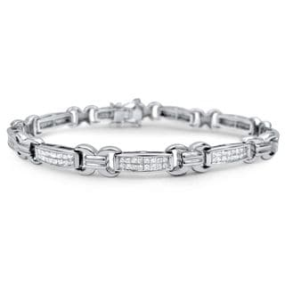 Noori 14k White Gold 3 1/2ct TDW Princess Cut Diamond Tennis Bracelet