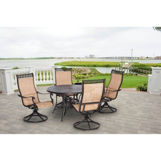 Hanover MANDN5PCSW-4 Manor Tan Aluminum 5-piece Outdoor Dining Set with 4 Swivel Rockers