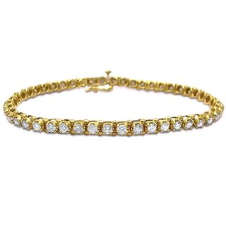 Noori 14k Yellow Gold 3 1/2ct TDW Round Diamond Tennis Bracelet