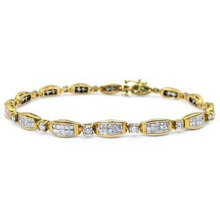 Noori 14k Gold 4ct TDW Princess Cut Round Diamond Tennis Bracelet
