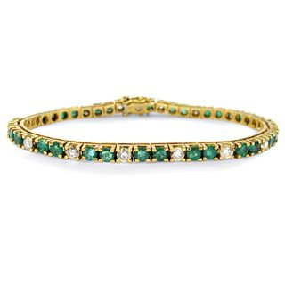 Noori 14k Gold 4 4/5ct TGW Green Emerald Round Diamond Tennis Bracelet
