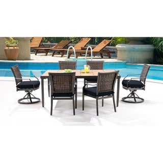 Hanover MERCDN7PCSW-NVY Mercer Navy Blue Aluminum 7-piece Outdoor Dining Set