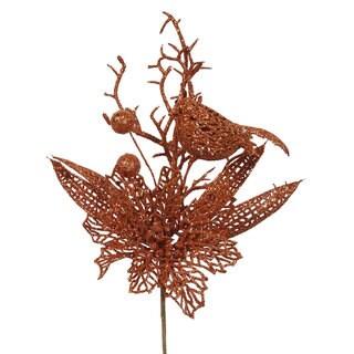 Vickerman Copper Plastic 13-inch Glitter Poinsettia Bird Pick (Pack of 12)