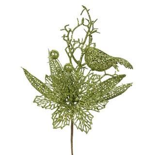 Vickerman Lime Plastic 13-inch Glitter Poinsettia Bird Pick (Pack of 12)