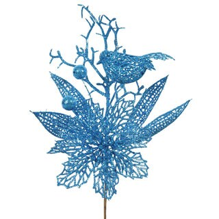 Turquoise Glitter 13-inch Poinsettia Bird Pick (Pack of 12)