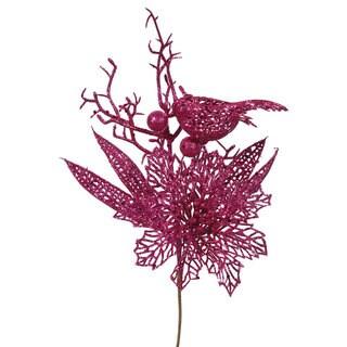 Vickerman Pink Plastic, Cerise Glitter 13-inch Poinsettia Bird Pick (Pack of 12)