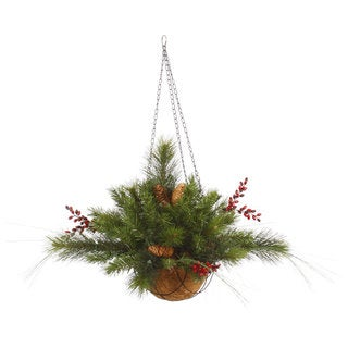 Vickerman Green Plastic 12-inch Mixed Berry Artificial Christmas Hanging Basket