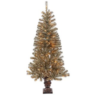 Vickerman Mocha Plastic 5-foot Tinsel Potted Artificial Christmas Tree with 150 Clear Lights