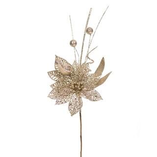 Vickerman Brown Plastic, Champagne Glitter 14-inch Poinsettia Ball Pick (Pack of 12)