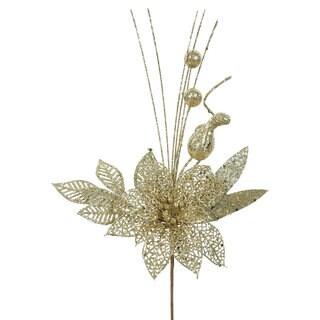 Vickerman Gold Glitter 14-inch Poinsettia Ball Pick (Case of 12)