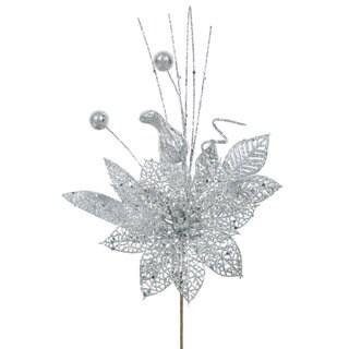 Vickerman Silver Plastic 14-inch Glitter Poinsettia Ball Pick (Pack of 12)