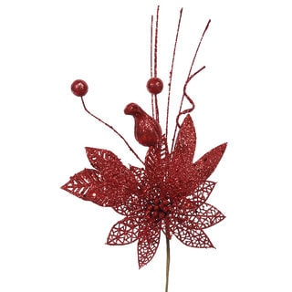 Vickerman Red Plastic 14-inch Glitter Poinsettia Ball Pick (Pack of 12)