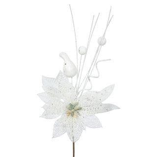 Vickerman White Plastic 14-inch Glitter Poinsettia Ball Pick (Pack of 12)