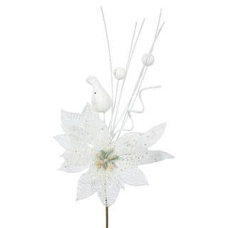 Vickerman White Plastic 14-inch Glitter Poinsettia Ball Pick (Pack of 12) https://ak1.ostkcdn.com/images/products/12102119/P18964640.jpg?impolicy=medium