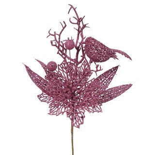 Vickerman Purple Plastic, Mauve Glitter 13-inch Poinsettia Bird Pick (Pack of 12)