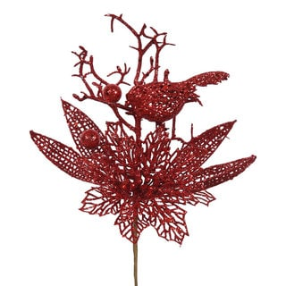 Red Glitter 13-inch Poinsettia Bird Pick (Pack of 12)