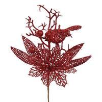 Red Glitter 13-inch Poinsettia Bird Pick (Pack of 12)