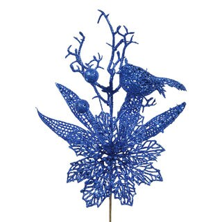 Blue Glitter 13-inch Poinsettia Bird Pick (Pack of 12)