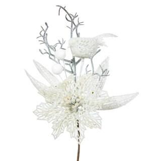 Vickerman White Plastic 13-inch Glitter Poinsettia Bird Picks (Pack of 12)