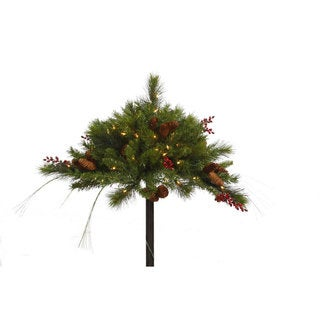 16-inch Mixed Berry and Cone Artificial Christmas Urn Filler with 100 Clear Lights