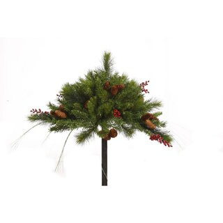Vickerman Green Plastic 16-inch Mixed Berry and Cone Artificial Christmas Unlit Urn Filler