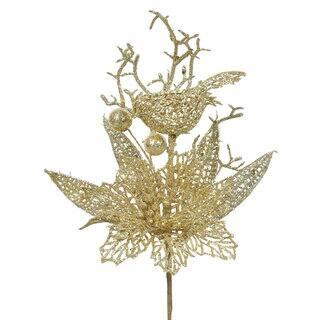 Vickerman Glitter Gold Plastic 13-inch Poinsettia and Bird Tree Picks (Pack of 12) https://ak1.ostkcdn.com/images/products/12102131/P18964647.jpg?impolicy=medium