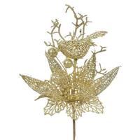 Vickerman Glitter Gold Plastic 13-inch Poinsettia and Bird Tree Picks (Pack of 12)