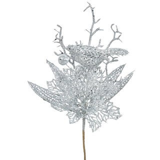 Vickerman Silver Glitter 13-inch Poinsettia Bird Pick (Pack of 12)