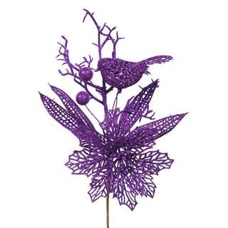 Purple Glitter 13-inch Poinsettia Bird Pick (Pack of 12)